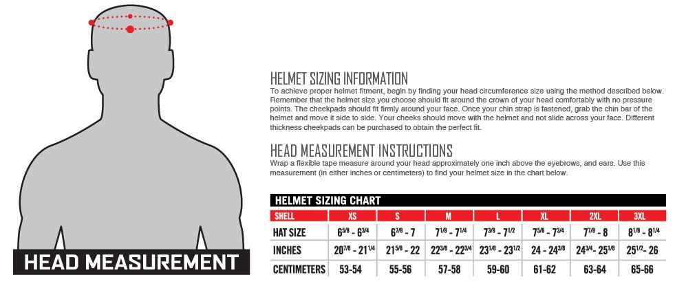 Motorcycleshop Ie Size Guide